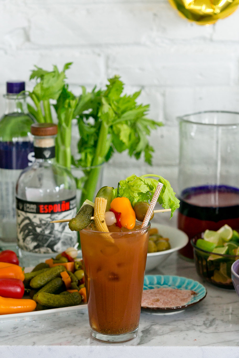 Bloody Mary Bar from Galentine's Brunch from the Unusually Lovely blog.