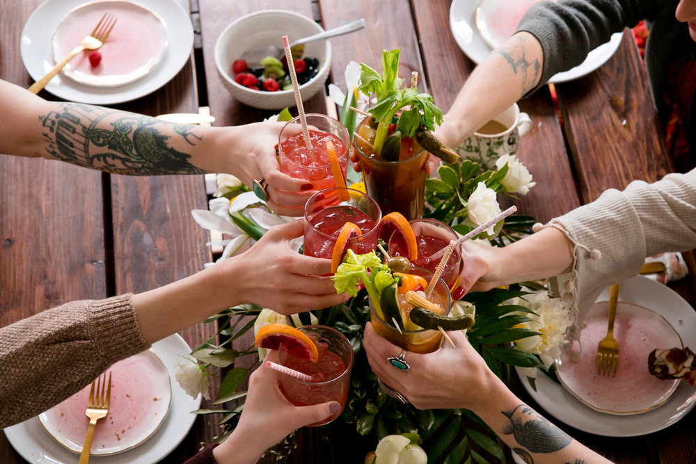 Cheers for Galentine's Day Brunch. UnusuallyLovely.com