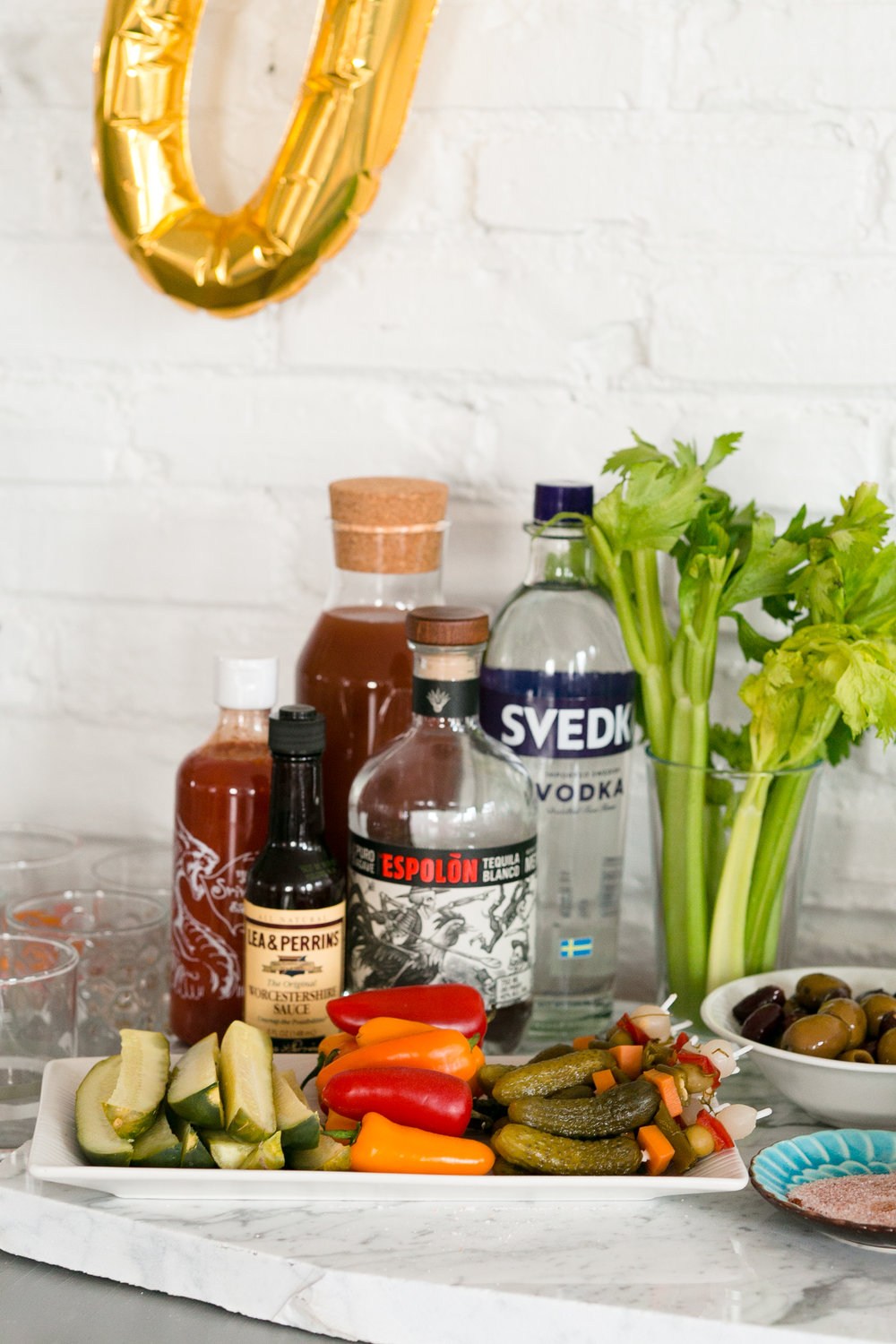 Our setup for the Bloody Mary Bar! Get the details on the Unusually Lovely Blog.