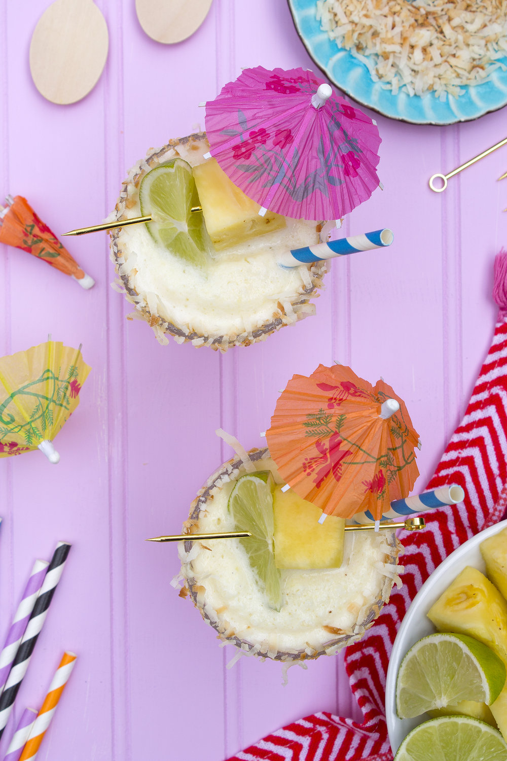 Coconut Pineapple Frozen Margaritas via UnusuallyLovely.com