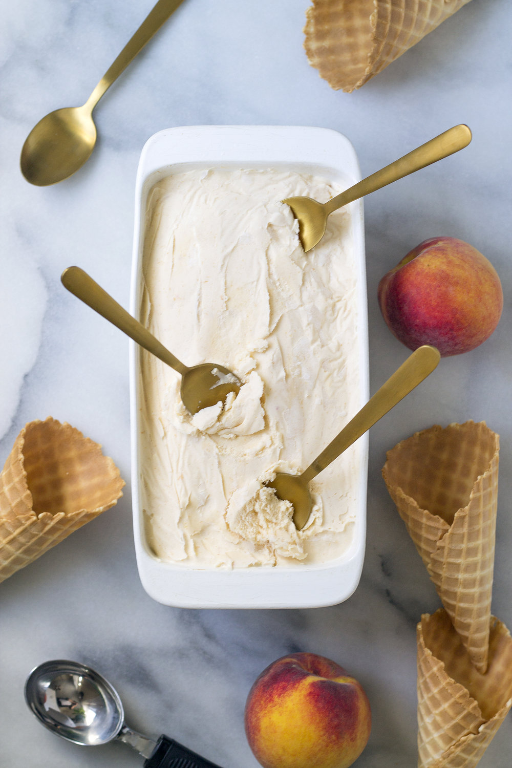 Homemade Peach Ice Cream! Get the recipe on UnusuallyLovely.com
