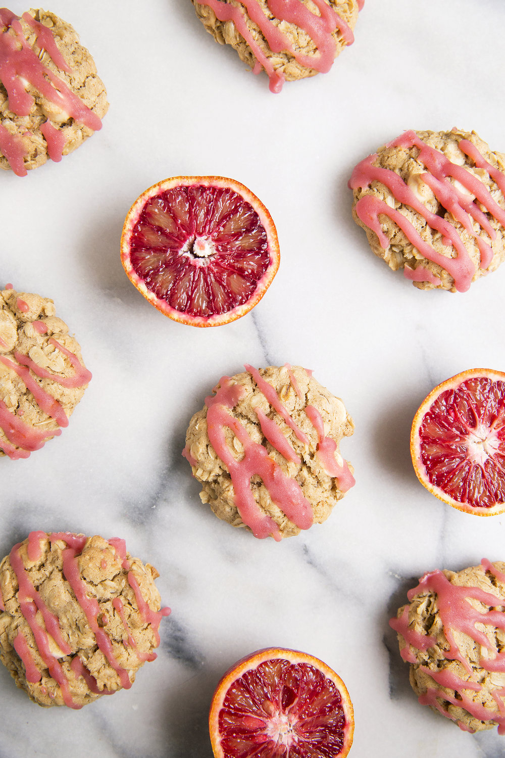 White Chocolate Oatmeal Cookies with Blood Orange Drizzle via UnusuallyLovely.com