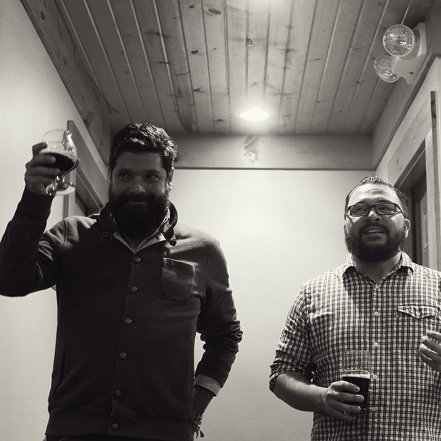 Andres Araya and myself at the El Bizzaron release event last Fall. - photo courtesy of Good Beer Hunting