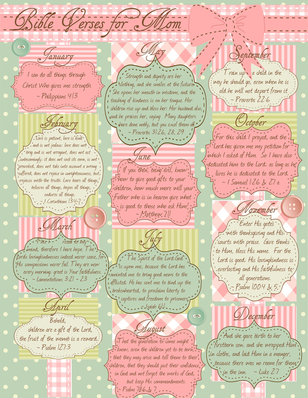 Printable Calendar of Bible verses for Mom!