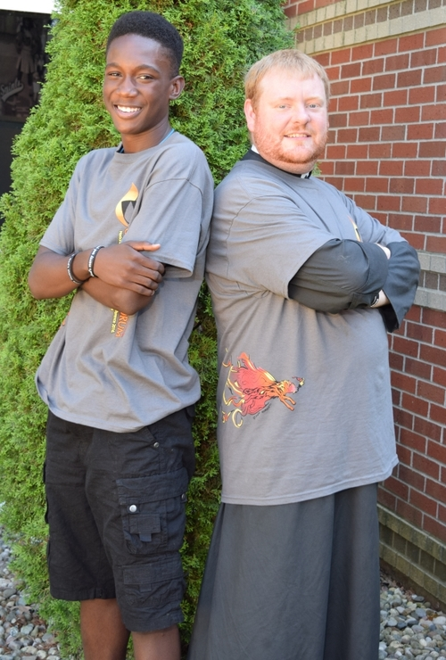 Jaylon Brown and former Campus Minister Fr. Allen attended the Dominican High School Preaching conference at Siena Heights University in Adrian, MI.