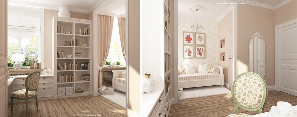 Детская девочки в Романтическом стиле от студии интерьеров  W Interiors .