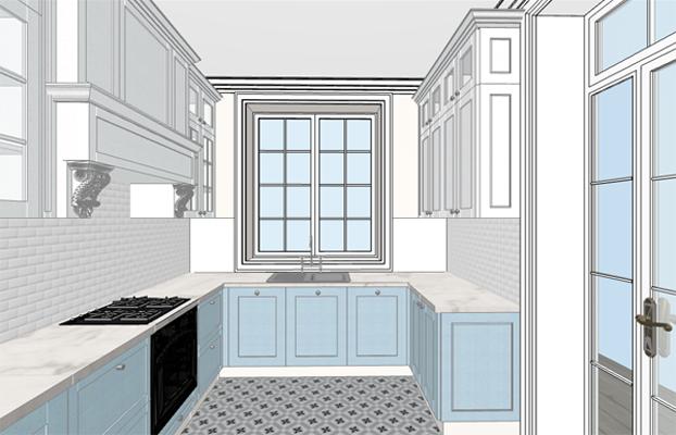 Дизайн-проект загородного дома. Эскиз кухни в классическом стиле.