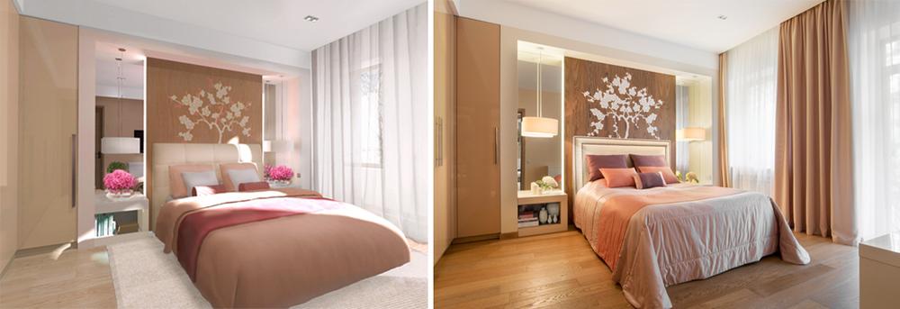 Дизайн-проект квартиры в современном стиле. Слева - визуализация спальни, справа - фотография.