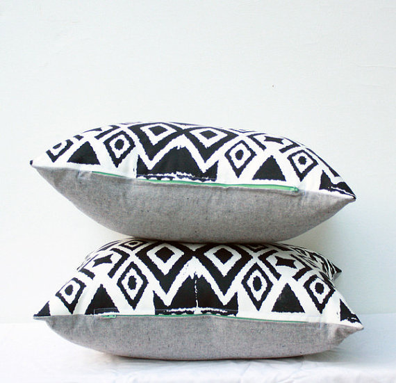 Diamonds in the Rough Ikat Pillow