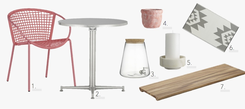 Chair   |   Bistro Table   |   Beverage Dispenser   |   Vase   |   Candleholder   |   Rug   |   Wood Board