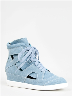 denim wedge sneakers