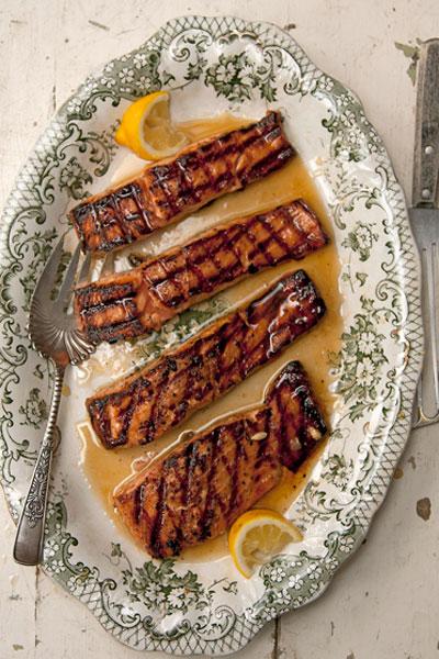 Salmon Glazed with Rosemary and Lemon-Infused Honey