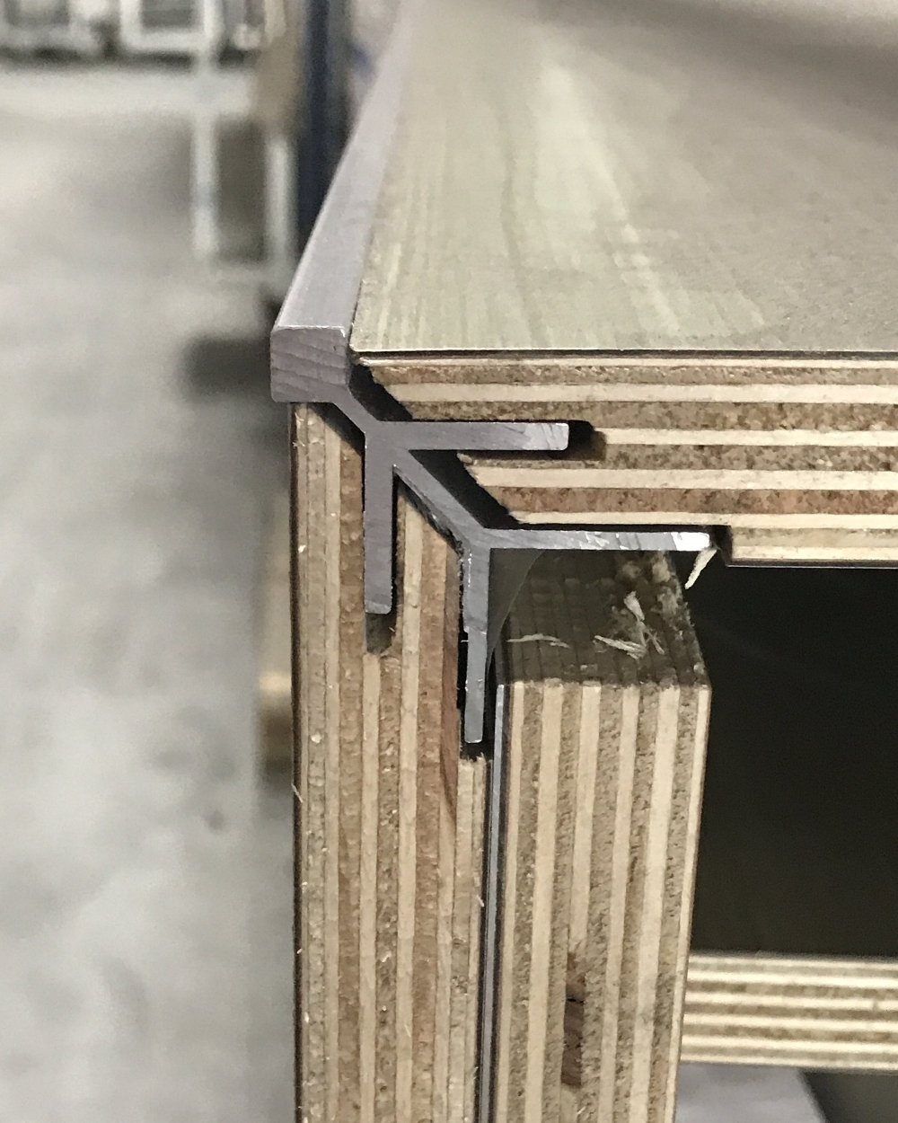 EMI's aluminum corner trim from inside the product.