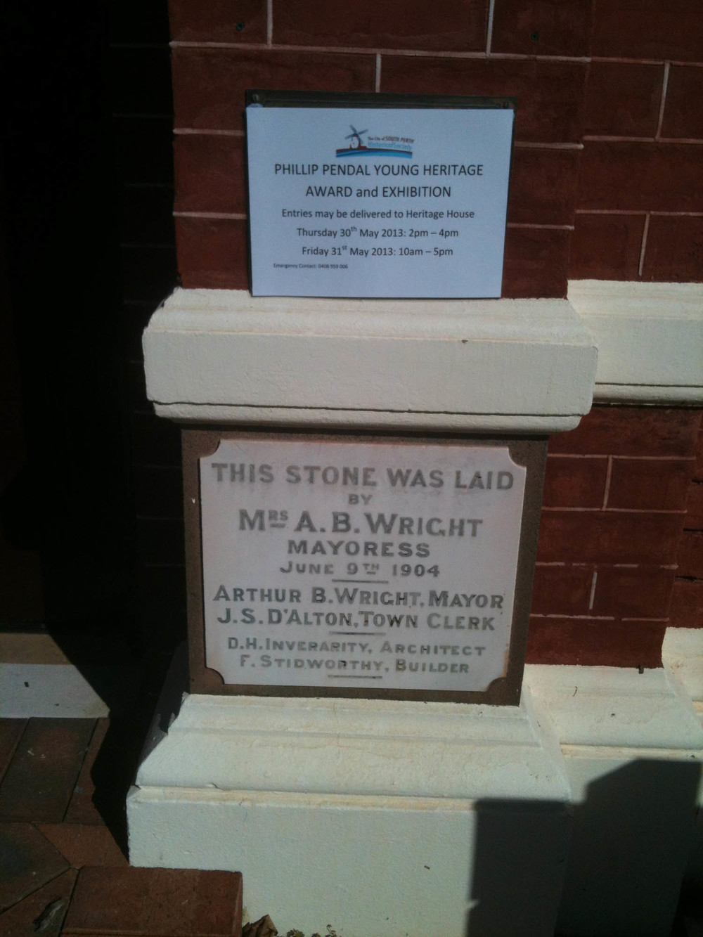 South Perth CC Foundation Stone