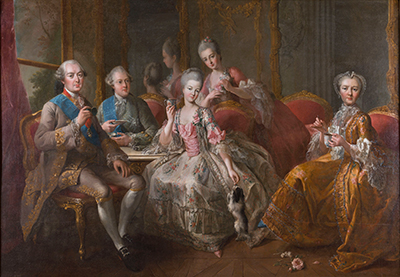 Image: Jean-Baptiste Charpentier, the elder The Duke of Penthièvre and his family c.1768 oil on canvas On loan from the Palace of Versailles Photo © Château de Versailles, Dist. RMN-Grand Palais / Christophe Fouin