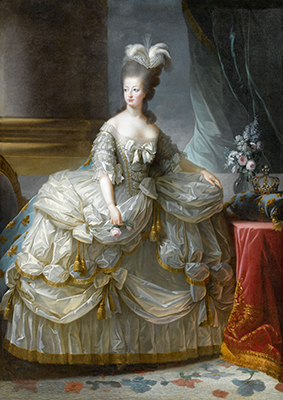 Image: after Louise Élisabeth Vigée Le Brun Queen Marie-Antoinette 1783 oil on canvas. On loan from the Palace of Versailles. Photo © Château de Versailles, Dist. RMN-Grand Palais / Gérard Blot