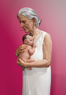 Sam Jinks  Woman and child 2010 silicone, pigment, resin, silk, human hair 145 x 40 x 40 cm Collection of the artist © Sam Jinks. Image courtesy of the artist, Sullivan+Strumpf, Sydney and Institute for Cultural Exchange, Tübingen