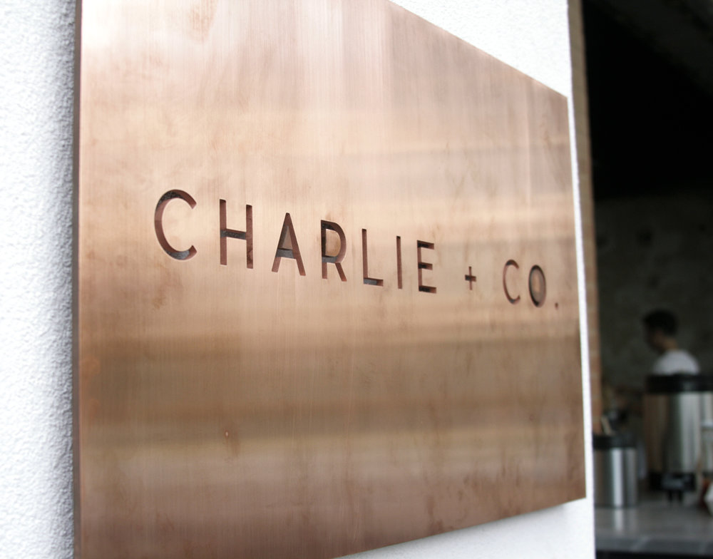 COPPER SIGN - CHARLIE & CO. - DALLAS, TX - 2017  Charlie + Co. is an upscale hair salon with locations in Dallas & Fort Worth.