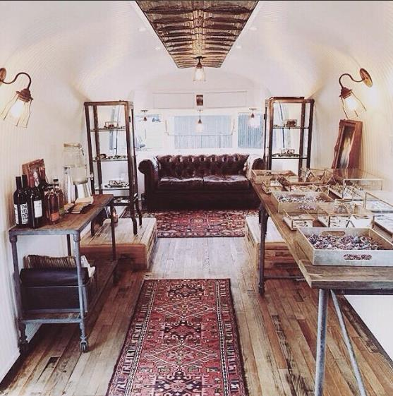 AIRSTREAM CONVERSION - BELLA & CHLOE - DALLAS, TX - 2015  Turquoise jewelry galore and motorcycle gear in an amazing retail environment.