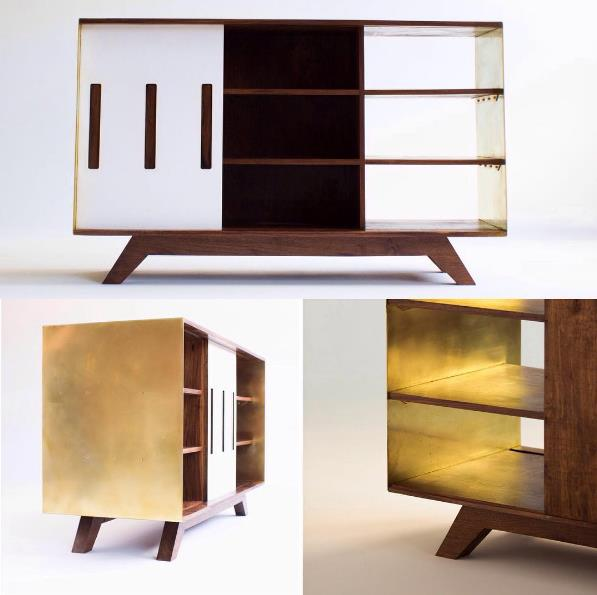 WALNUT & BRASS CREDENZA - BEAU BOLLINGER - DALLAS, TX Hair dresser at LARC Salon.