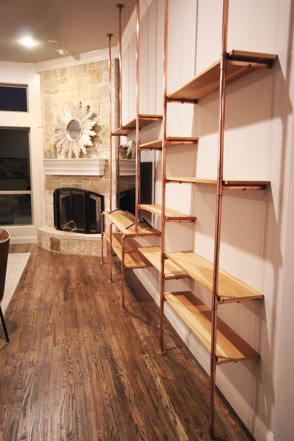 COPPER & PECAN SHELVES - RESIDENCE IN FARMERS BRANCH, TX