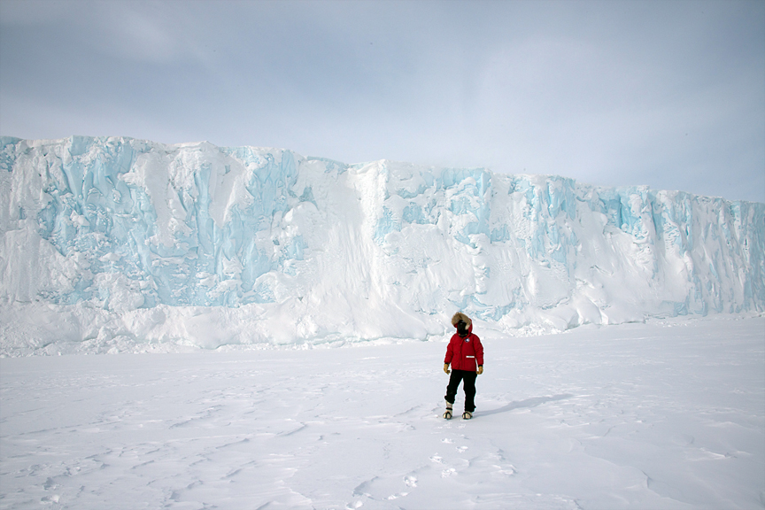 Diane Tuft in front of Barnes Glacier, Antarctica.