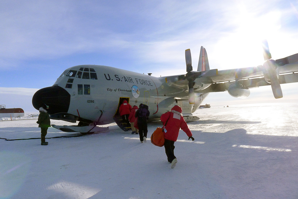 Boarding our C-130 at 8:15AM to go to the South Pole
