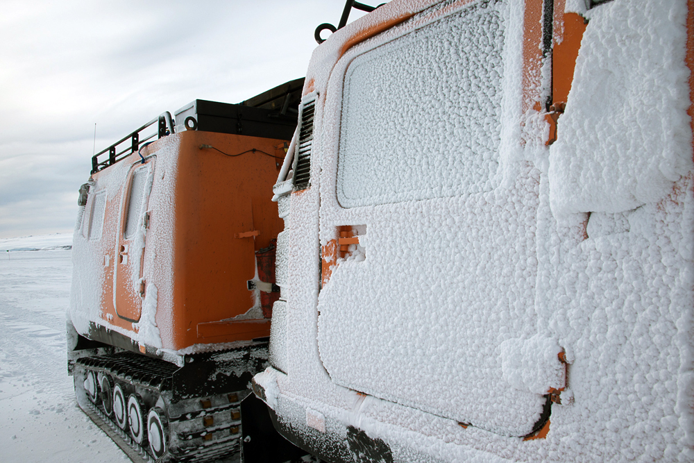 A snow covered Hagglund