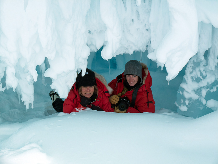 Peaking out from an Ice Cave