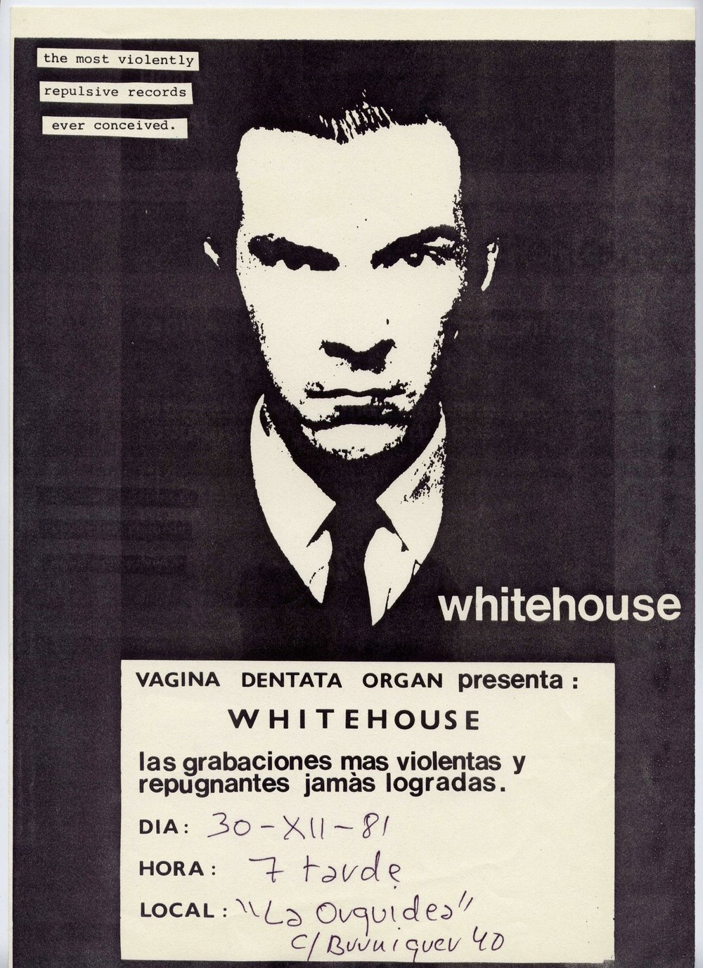 Flyer La Orquídea, Whitehouse, 1981