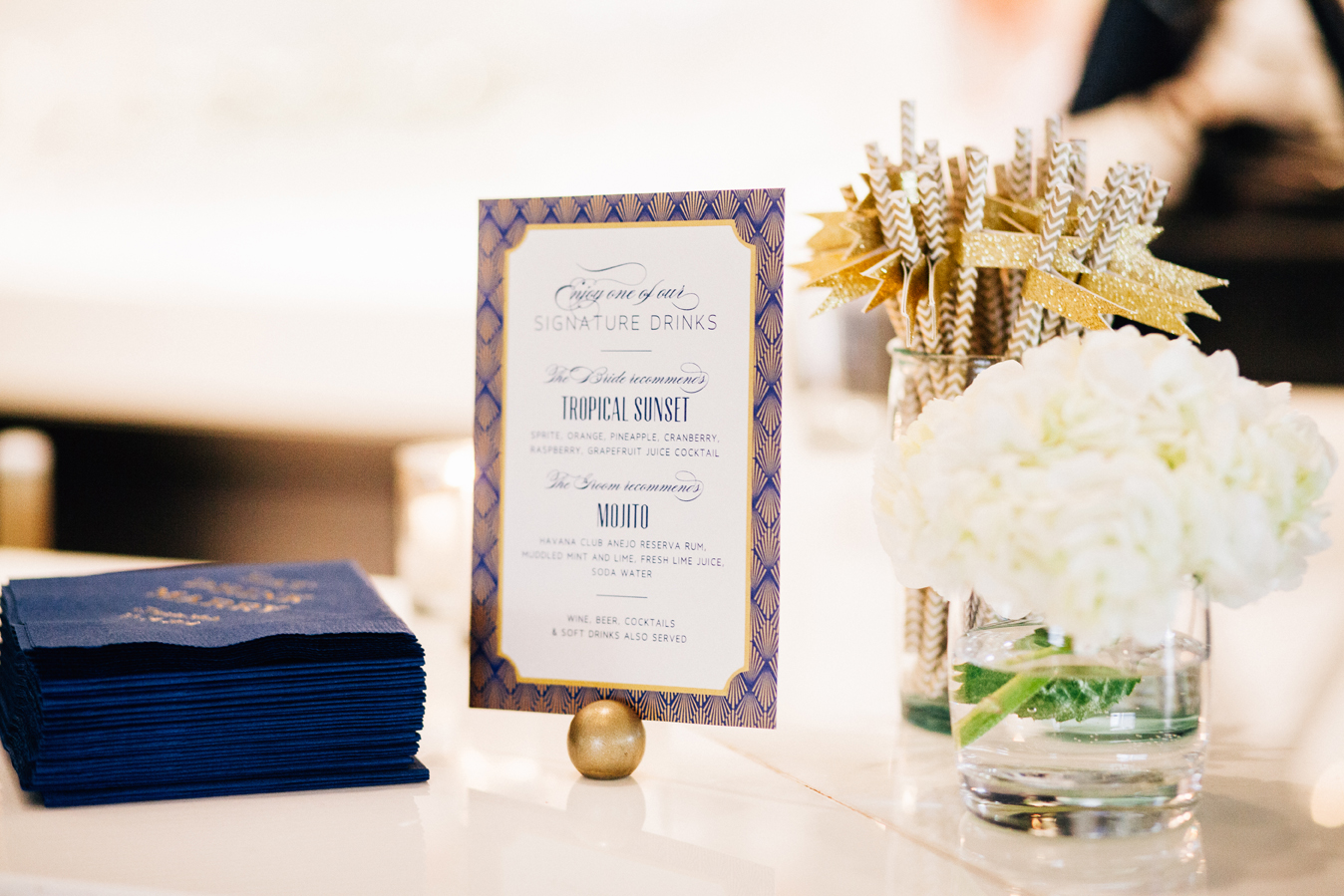 Navy & Gold Art Deco Wedding — Sara Baig Designs