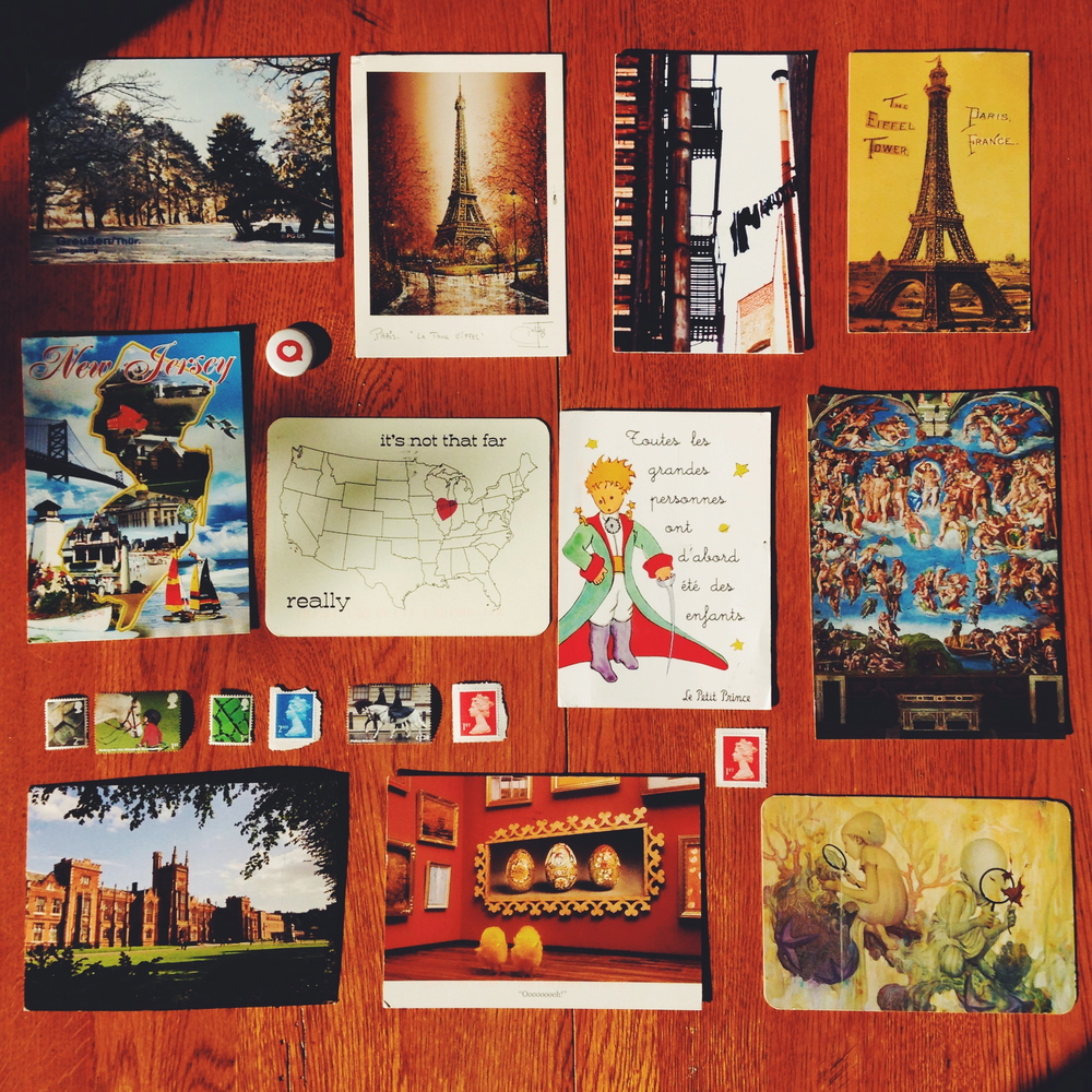 A feature of the postcards I received during a week.