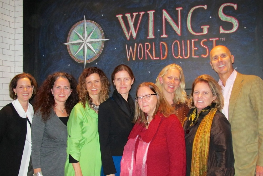 Board Member Claire Werner, Board Chair Karen Zieff, Wings Fellow Jane Poynter, Board Member and Fellow Maya Tolstoy, Board Treasurer, Mary Britt, Board member Diane Tery, Wings Founder, Director, Fellow Milbry Polk, Bruce Terry. At the Terry's home for the October Presentation of Fellow Jane Poynter