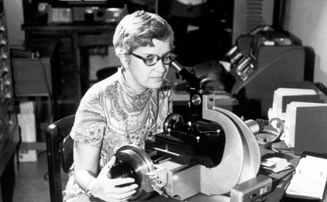 Rubin, who is most famous for her inferring the existence of dark matter, is seen here measuring spectra... Click on the photo above for the full-length article