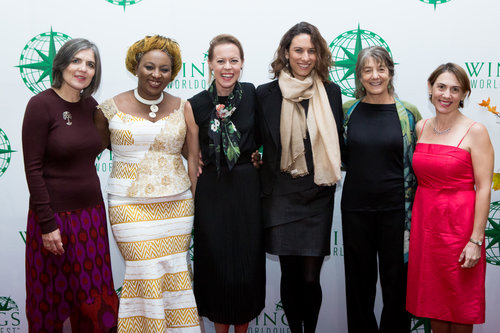 L-R: Beate Liepert, Earth Award; Kristen Marhaver, Sea Award; Sheila Ochugboju, Humanity Award; Ophira Eisenberg, Master of Ceremonies; Hope Jahren, Leadership Award; Juliana Machado Ferreira, Courage Award; Marla Spivak, Conservation Award