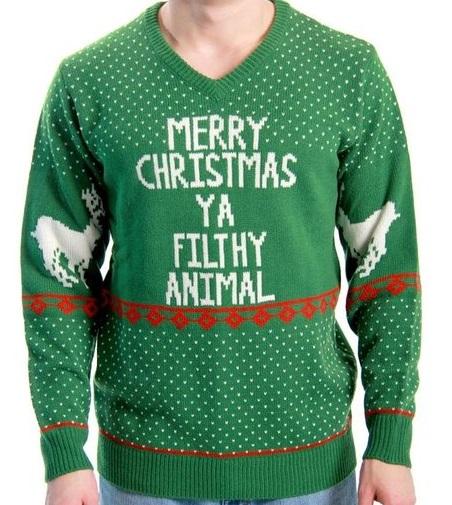 merry christmas ya filthy animal ugly sweater - Funny Ugly Christmas Sweaters
