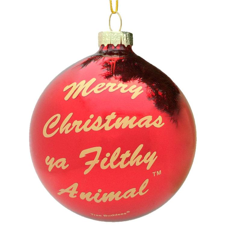 merry christmas ya filthy animal glass ornament - Funny Christmas Tree Ornaments