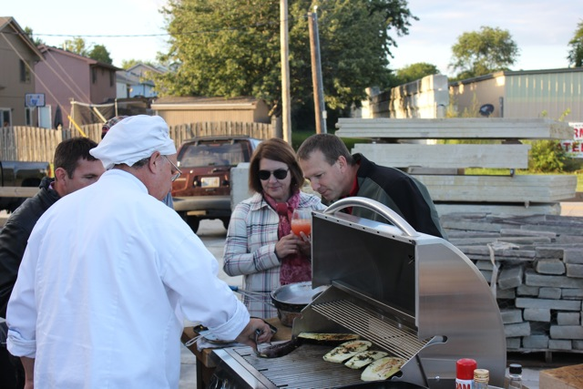 Guests surrounded the demonstration with their homemade mixed drinks that they were encouraged to bring, while Chef Gene Cammorata used both the Summerset Grill with a searing attachment and a Chicago Brick Oven. Both are available for retail at Antiquity.
