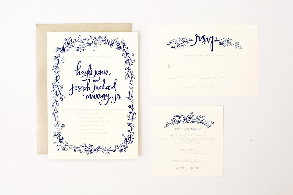 Navy + Ivory / Hayli + Joe Wedding Invitation Suite