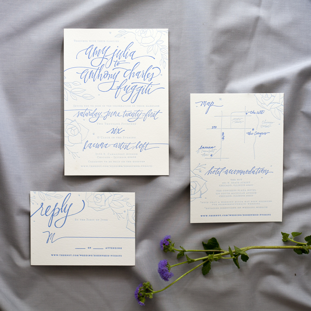 Blue Letterpress Wedding Invitation Suite