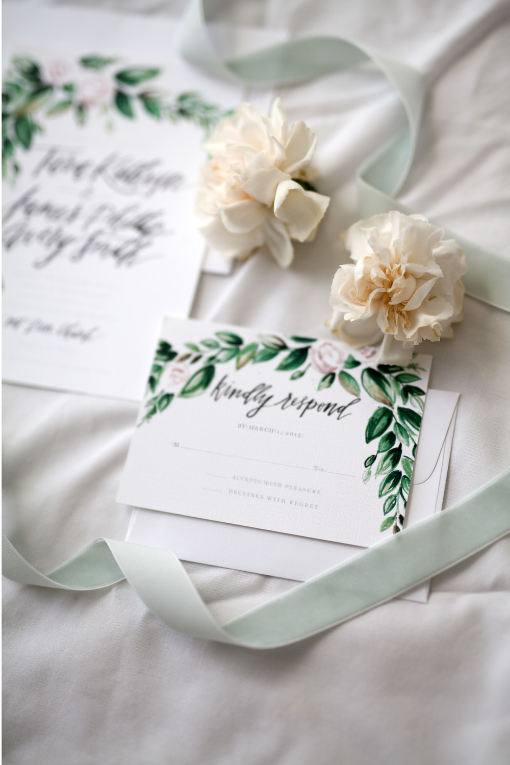 Tara + Phillip's Romantic Evergreen Custom Wedding Invitaion Suite