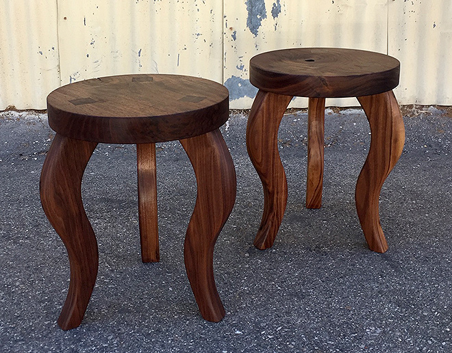 Stools with Wedged Tenon, Claro Walnut Seats, Eastern Black Walnut Legs