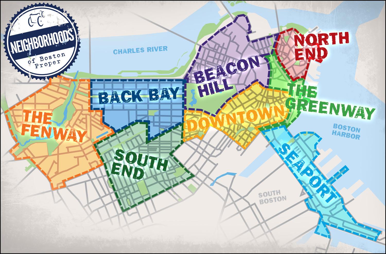 NEIGHBORHOOD TOURS Boston Pedicab - Boston neighborhood map