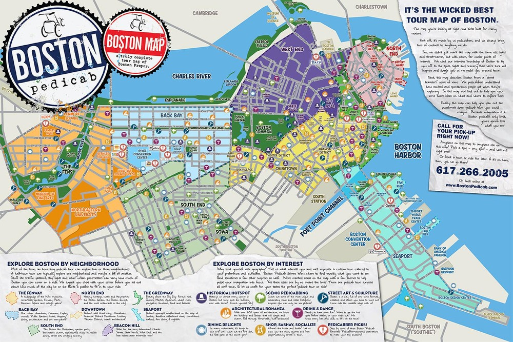 The Absolute BEST Tour Map of Boston Period Boston Pedicab – Boston Map Tourist