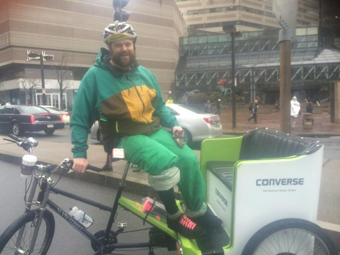 Mike Coughlin gave pedicab rides on Marathon Monday. Photo credit: Allison Pohle/Boston.com