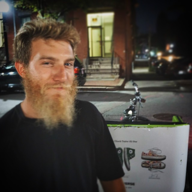 We #BostonPedicab drivers manage ourselves.  This #handsome guy is @mikeygoyette, here right after a #pedicab #RedSox shift. Mikey helps keep our shifts running and our image strong. He's awesome. DEFINITELY get a ride with this dude.  #slablife #pedicabnation #Boston #SouthEnd #beard #instabeard @thesnowriders #OnlyOnAPedicab #OnlyOnPedicab #150RidesOfSummer #slab #chillin