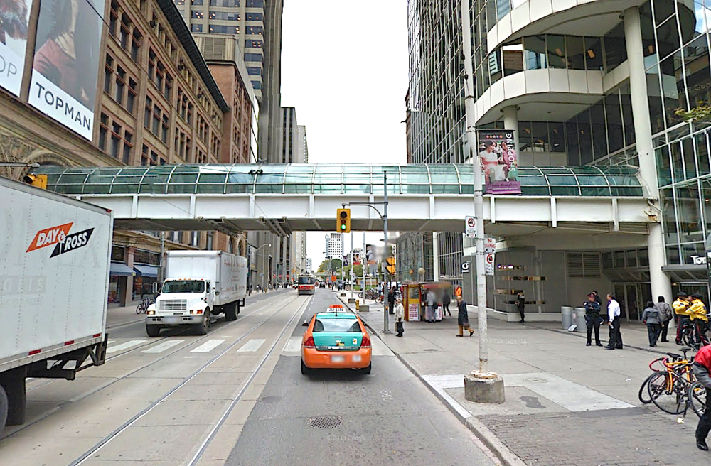 This footpath between Toronto Eaton Centre and Hudson's Bay/Saks will be renovated as part of the deal. Image: Google Streetview