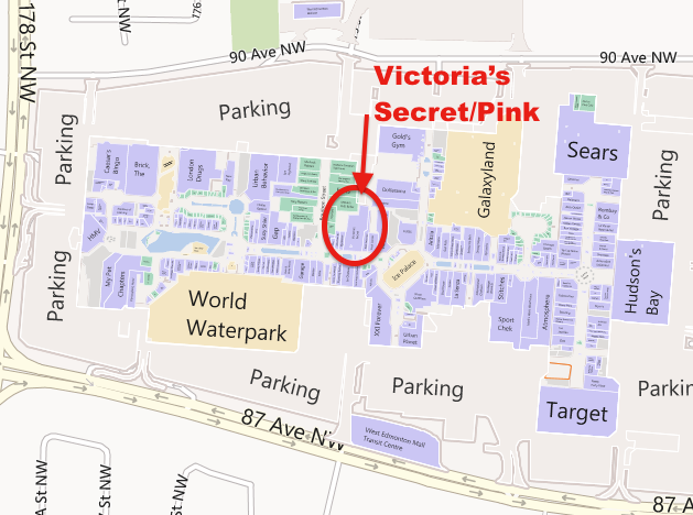 West Edmonton Mall Map Victoria's Secret at West Edmonton Mall is the 2nd highest selling  West Edmonton Mall Map