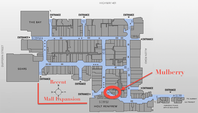 d789a284bbcbfa  Pre-expansion  Yorkdale Floorplan w Mulberry s Location.  Image Source