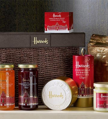 An example of Harrod's popular food hampers. Saks Fifth Avenue may replicate the concept for its Canadian Saks food halls [ Image Source ]